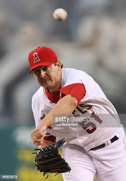Joe Saunders of the Los Angeles Angels of Anaheim pitches against the Oakland Athletics at Angels Stadium April 29 2008 in Anaheim California