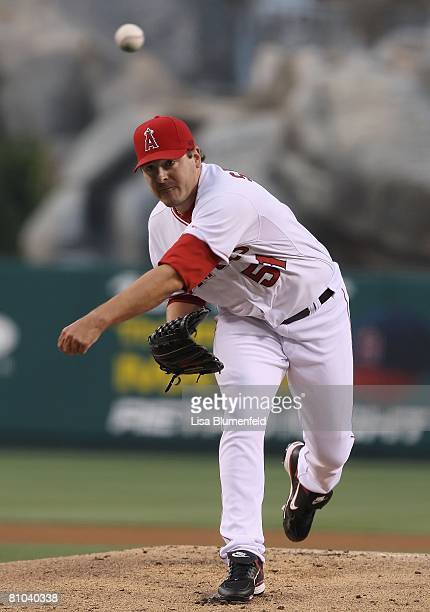Joe Saunders of the Los Angeles Angels of Anaheim pitches against the Oakland Athletics at Angels Stadium on April 29 2008 in Anaheim California