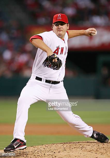 Joe Saunders of the Los Angeles Angels of Anaheim pitches against the Detroit Tigers at Angels Stadium on May 28 2008 in Anaheim California