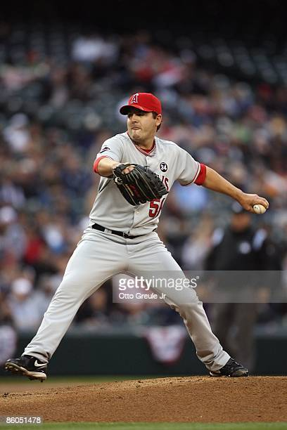 Joe Saunders of the Los Angeles Angels of Anaheim pitches against the Seattle Mariners during the game on April 16 2009 at Safeco Field in Seattle...