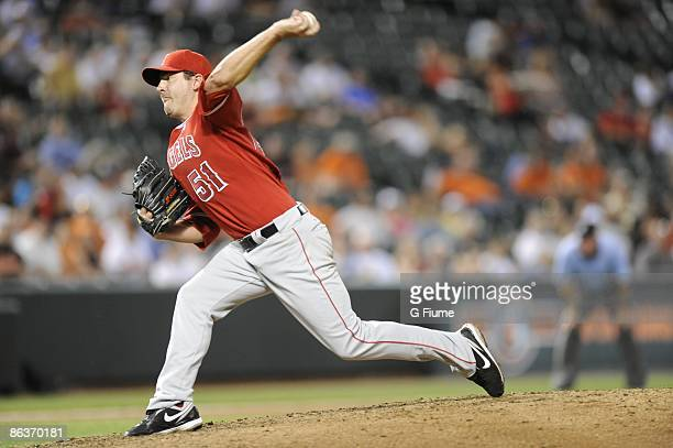 Joe Saunders of the Los Angeles Angels of Anaheim pitches against the Baltimore Orioles at Camden Yards on April 28 2009 in Baltimore Maryland