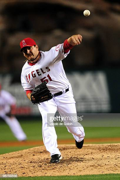 Joe Saunders of the Los Angeles Angels of Aneheim pitches in the first inning against the Minnesota Twins on April 6 2010 at the Angel Stadium of...