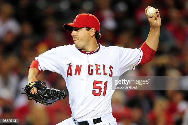 Joe Saunders of the Los Angeles Angels of Aneheim pitches in the first inning against the Minnisota Twins on April 6 2010 in Anaheim California