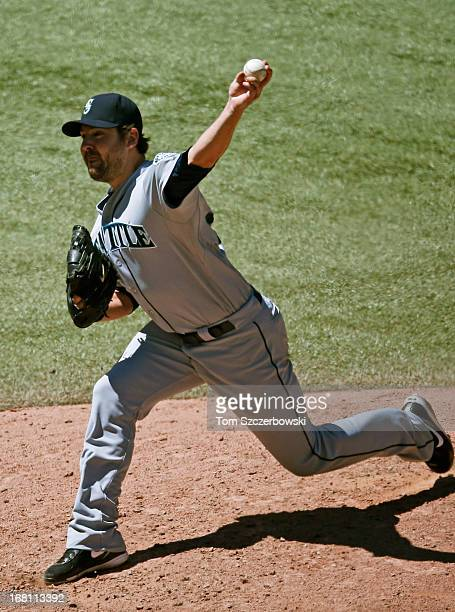 Joe Saunders of the Seattle Mariners delivers a pitch during MLB game action against the Toronto Blue Jays on May 5 2013 at Rogers Centre in Toronto...