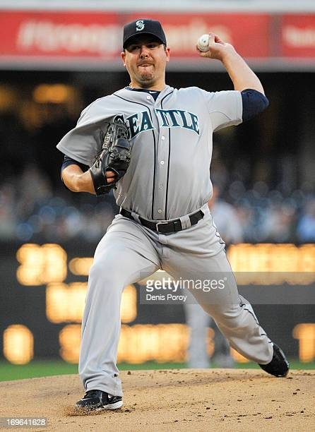 Joe Saunders of the Seattle Mariners pitches during the first inning of a baseball game against the San Diego Padres at Petco Park on May 29 2013 in...