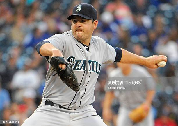 Joe Saunders of the Seattle Mariners pitches during the second inning of a baseball game against the San Diego Padres at Petco Park on May 29 2013 in...