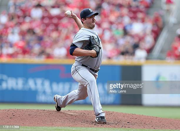 Joe Saunders of the Seattle Mariners throws a pitch during the game against the Cincinnati Reds at Great American Ball Park on July 7 2013 in...