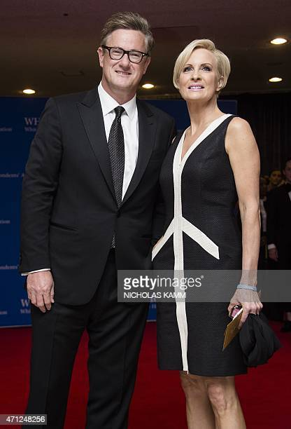 Joe Scarborough and Mika Brzezinski arrive at the White House Correspondents' Association annual dinner in Washington DC on April 25 2015 AFP...