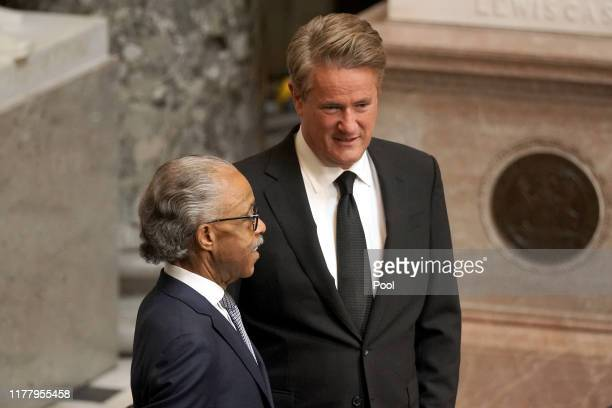 Joe Scarborough and Rev Al Sharpton attend the memorial service for US Rep Elijah Cummings in the Statuary Hall of the US Capitol October 24 2019 in...