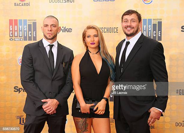 Joe Schilling Anastasia Yankova and Matt Mitrione attend Spike TV's 'Guys Choice 2016' at Sony Pictures Studios on June 4 2016 in Culver City...