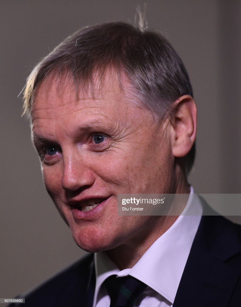 Joe Schmidt, coach of Ireland faces the press during the RBS Six Nations launch at The Hurlingham Club on January 27, 2016 in London