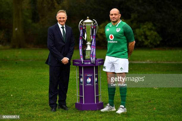 Joe Schmidt Head Coach of Ireland and Rory Best of Ireland pose with the trophy during the 6 Nations Launch event at the Hitlon on January 24 2018 in...
