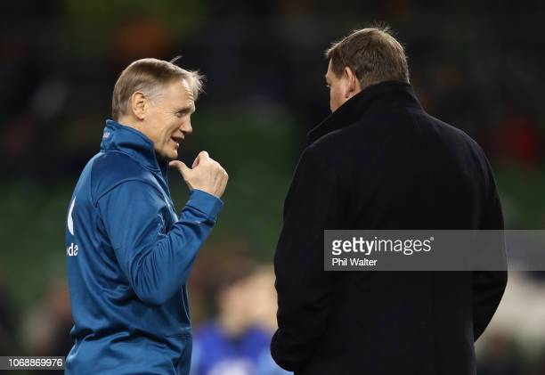 Joe Schmidt head coach of Ireland and Steve Hansen head coach of New Zealand All Blacks in discussion prior to the international friendly between...