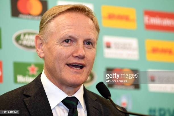 Joe Schmidt Head Coach of Ireland attends a press conference after the Rugby World Cup Pool Draw at the Kyoto State Guest House on May 10 2017 in...