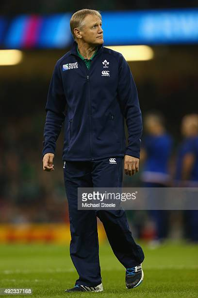 Joe Schmidt Head Coach of Ireland during the 2015 Rugby World Cup Pool D match between France and Ireland at Millennium Stadium on October 11 2015 in...