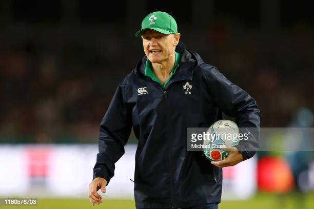 Joe Schmidt Head Coach of Ireland gives his team instructions prior to the Rugby World Cup 2019 Group A game between Ireland and Samoa at Fukuoka...
