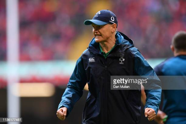 Joe Schmidt head coach of Ireland gives instructions prior to the Guinness Six Nations match between Wales and Ireland at Principality Stadium on...