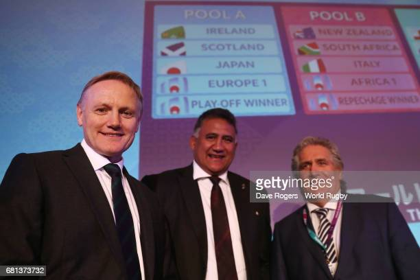 Joe Schmidt Head Coach of Ireland Jamie Joseph Head Coach of Japan and Scott Johnson Performance Director of Scotland pose during the Rugby World Cup...