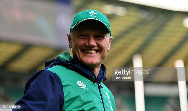 Joe Schmidt Head Coach of Ireland looks on during the Ireland Captains Run at Twickenham Stadium on February 26 2016 in London England