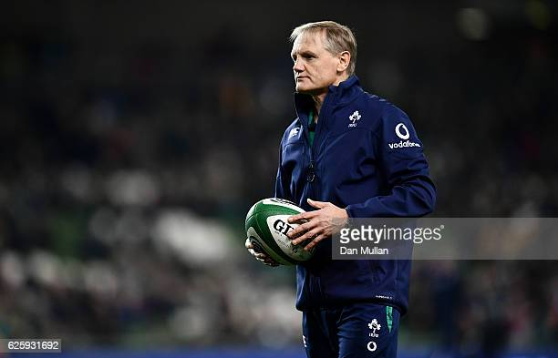 Joe Schmidt Head Coach of Ireland looks on prior to the international match between Ireland and Australia at the Aviva Stadium on November 26 2016 in...