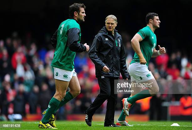 Joe Schmidt Head Coach of Ireland looks on prior to the RBS Six Nations match between Wales and Ireland at Millennium Stadium on March 14 2015 in...