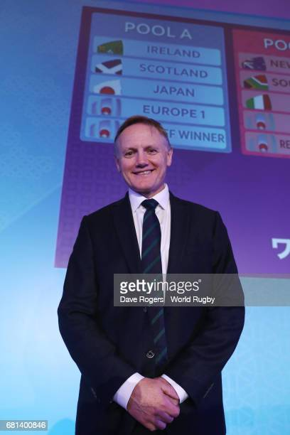 Joe Schmidt Head Coach of Ireland poses during the Rugby World Cup 2019 Pool Draw at the Kyoto State Guest House on May 10 2017 in Kyoto Japan