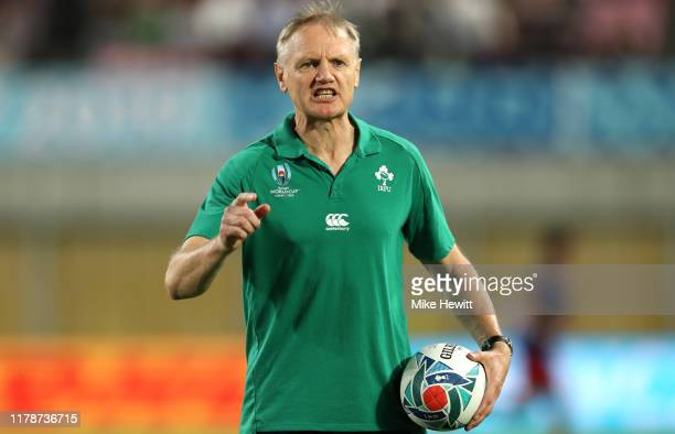 Joe Schmidt Head Coach of Ireland reacts prior to the Rugby World Cup 2019 Group A game between Ireland and Russia at Kobe Misaki Stadium on October...