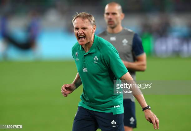 Joe Schmidt Head Coach of Ireland reacts prior to the Rugby World Cup 2019 Quarter Final match between New Zealand and Ireland at the Tokyo Stadium...