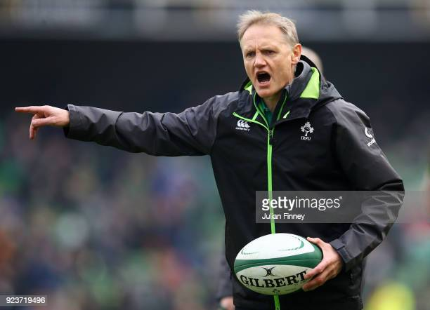 Joe Schmidt of Ireland gives out instructions to his team prior to the NatWest Six Nations match between Ireland and Wales at Aviva Stadium on...