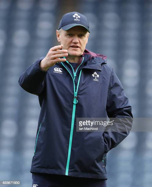 Joe Schmidt of Ireland is seen during the captain's run prior to tomorrow's 6 Nations match between Scotland and Ireland at Murrayfield on February 3...