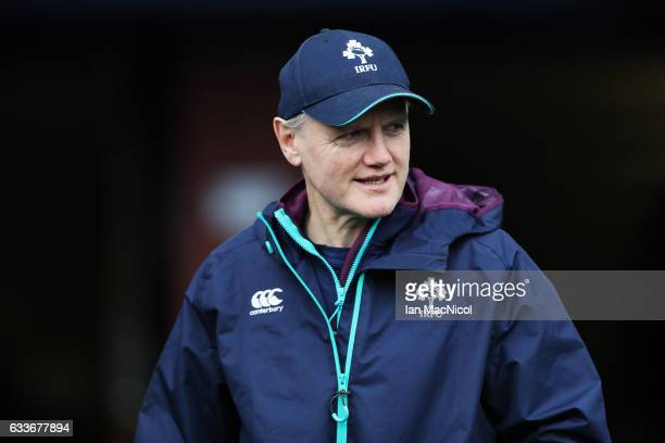 Joe Schmidt the coach of Ireland is seen during the captains run prior to tomorrow's 6 Nations match between Scotland and Ireland at Murrayfield on...