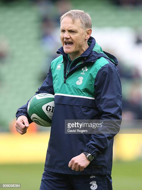 Joe Schmidt the head coach of Ireland looks on during the RBS Six Nations match between Ireland and Wales at the Aviva Stadium on February 7 2016 in...