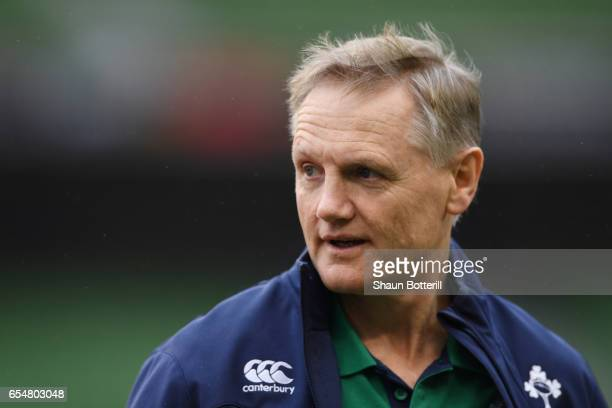 Joe Schmidt the head coach of Ireland looks on prior to kickoff during the RBS Six Nations match between Ireland and England at the Aviva Stadium on...
