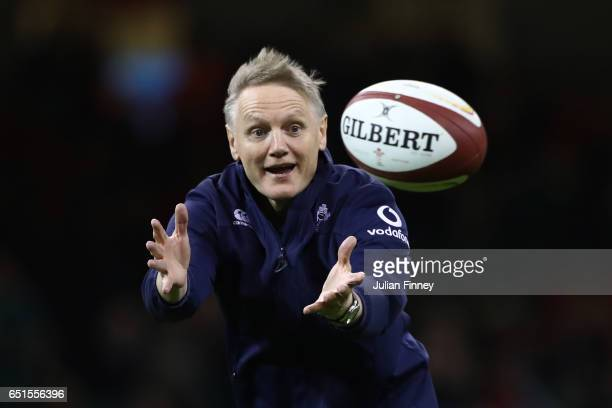 Joe Schmidt the head coach of Ireland takes part in the pre match warm up prior to kickoff during the Six Nations match between Wales and Ireland at...