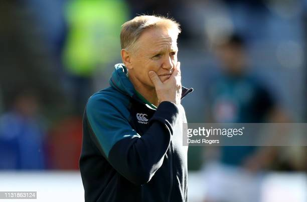 Joe Schmidt the Ireland head coach looks on during the Guinness Six Nations match between Italy and Ireland at the Stadio Olimpico on February 24...