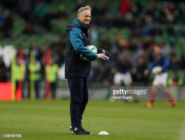 Joe Schmidt the Ireland head coach looks on during the Guinness Six Nations match between Ireland and France at the Aviva Stadium on March 10 2019 in...