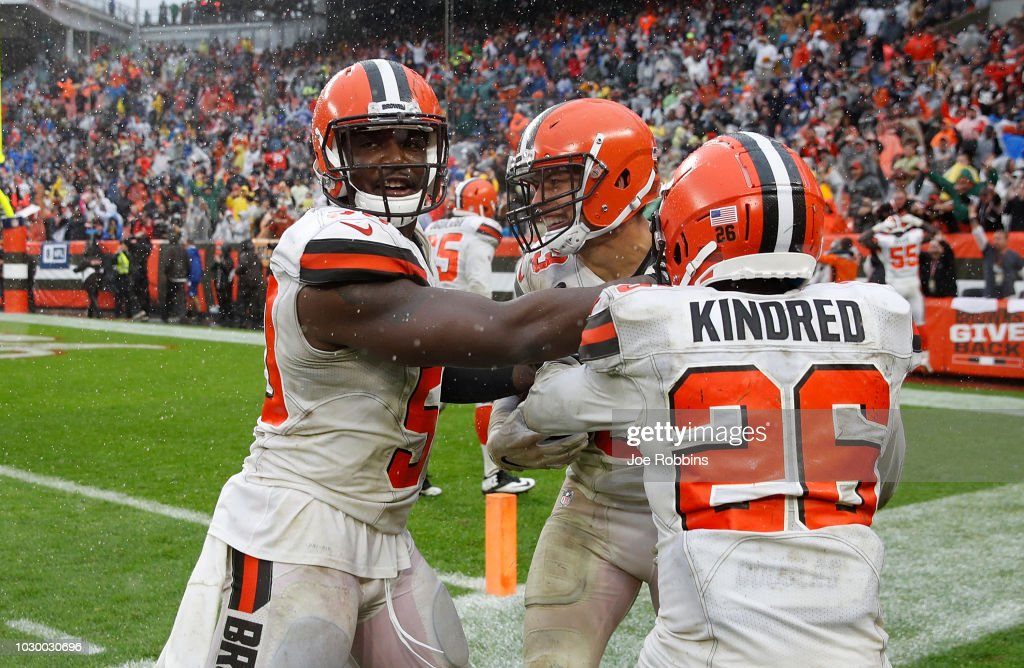 Joe Schobert #53 of the Cleveland Browns celebrates his interception with teammates during overtime against the Pittsburgh Steelers the at FirstEnergy Stadium on September 9, 2018 in Cleveland, Ohio. The game ended in a 21-21 tie.