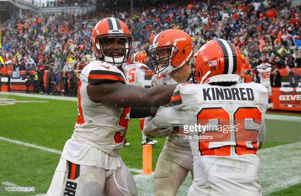 Joe Schobert of the Cleveland Browns celebrates his interception with teammates during overtime against the Pittsburgh Steelers the at FirstEnergy...