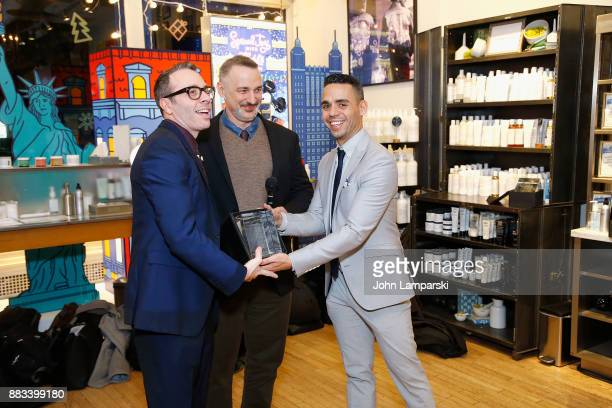 Joe Serance accepts an award presented by Karl Siciliano and Alex Roque during The Bea Arthur Residence Building dedication on November 30, 2017 in...
