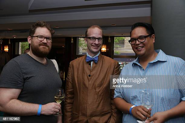 Joe Sever Michael Olson and Kenneth Lennap attend Petrossian Caviar Day Happy Hour on July 17 2015 in New York City