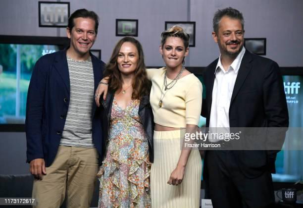 "Joe Shrapnel, Anna Waterhouse, Kristen Stewart and Benedict Andrews attend the ""Seberg"" press conference during the 2019 Toronto International Film..."