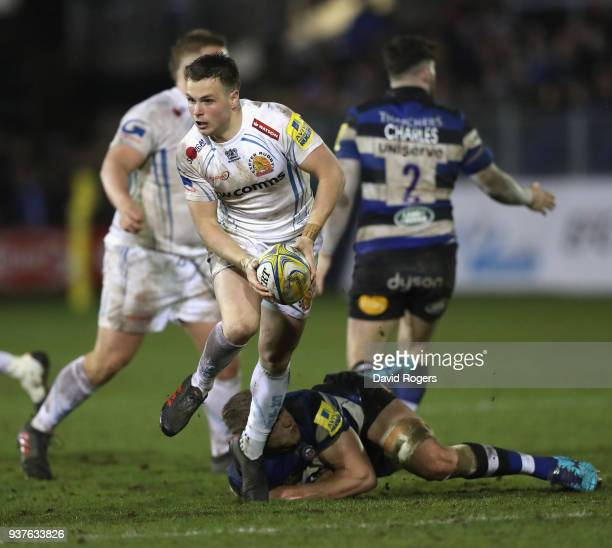 Joe Simmonds of Exeter breaks with the ball during the Aviva Premiership match between Bath Rugby and Exeter Chiefs at the Recreation Ground on March...