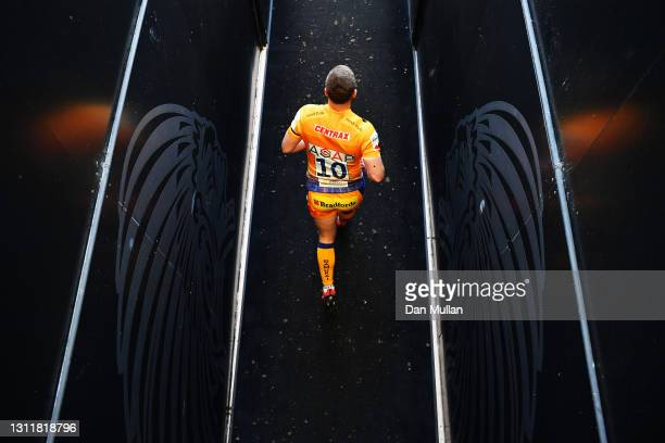 Joe Simmonds of Exeter Chiefs comes out of the tunnel during the Heineken Champions Cup Quarter Final match between Exeter Chiefs and Leinster at...