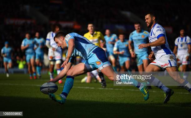 Joe Simmonds of Exeter Chiefs goes over to score his side's second try during the Champions Cup match between Exeter Chiefs and Castres Olympique at...