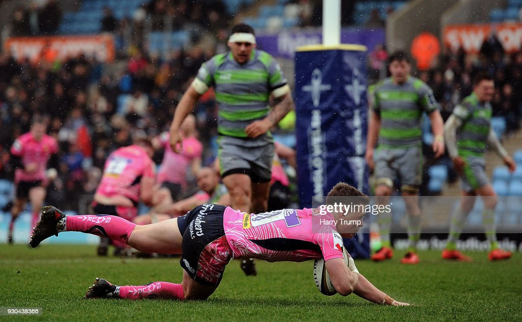 Joe Simmonds of Exeter Chiefs goes over to score his sides second try during the Anglo-Welsh Cup Semi Final match between Exeter Chiefs and Newcastle Falcons at Sandy Park on March 11, 2018 in Exeter, England.