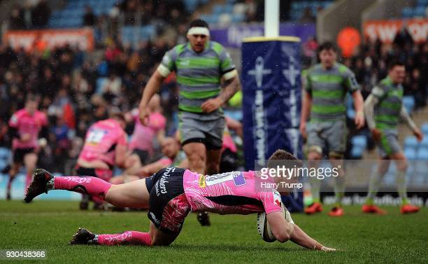Joe Simmonds of Exeter Chiefs goes over to score his sides second try during the AngloWelsh Cup Semi Final match between Exeter Chiefs and Newcastle...