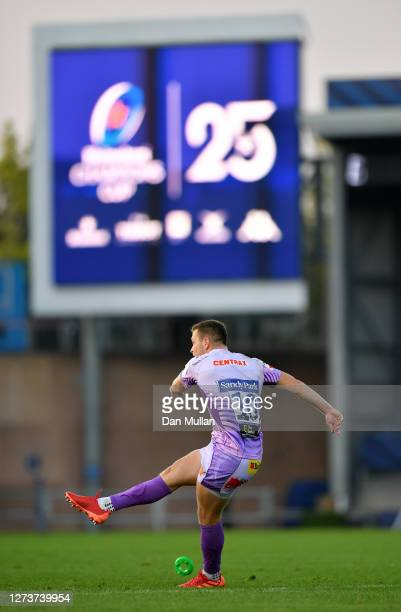 Joe Simmonds of Exeter Chiefs kicks a conversion during the Heineken Champions Cup Quarter Final match between Exeter Chiefs and Northampton Saints...