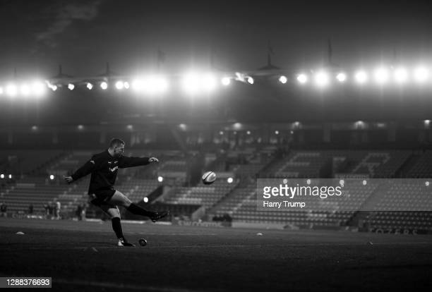 Joe Simmonds of Exeter Chiefs kicks during the warm up ahead of the Gallagher Premiership Rugby match between Exeter Chiefs and Bath at Sandy Park on...