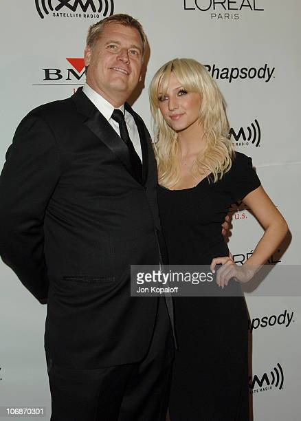 Joe Simpson and Ashlee Simpson during 2006 Clive Davis PreGRAMMY Awards Party Arrivals at Beverly Hilton Hotel in Beverly Hills California United...