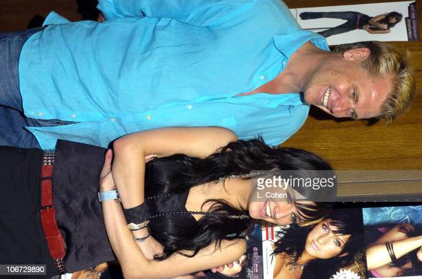 """Joe Simpson and Ashlee Simpson during Geffen Records Suprises Ashlee Simpson with a Platinum Record for Her Album """"Autobiography"""" at Geffen Records..."""